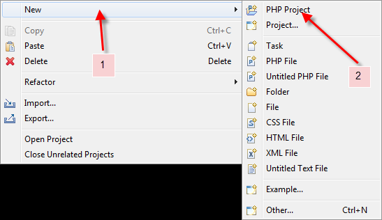 Create new eclipse project