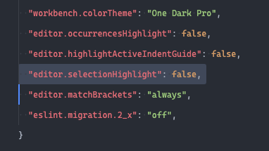 Visual Studio Code Disable Selection Highlight