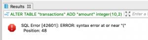 Alter table error